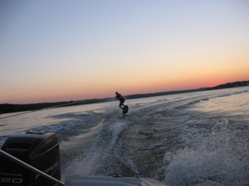 This is me wakeboarding after sunset